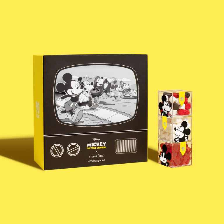 Mickey Mouse candy box with yellow background