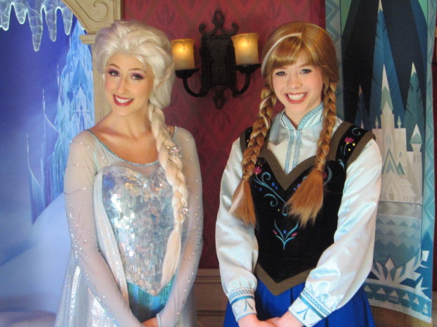 Queen Elsa and Princess Anna at the Royal Reception in Disneyland