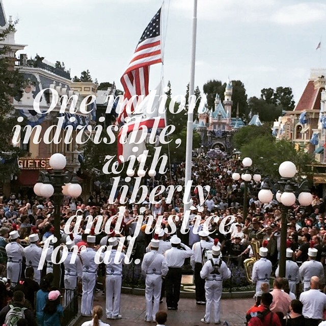 The flag retreat in #Disneyland on #memorialday was packed. This…