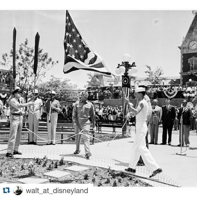 #Repost @walt_at_disneyland Happy Memorial Day! The flag retreat is one…