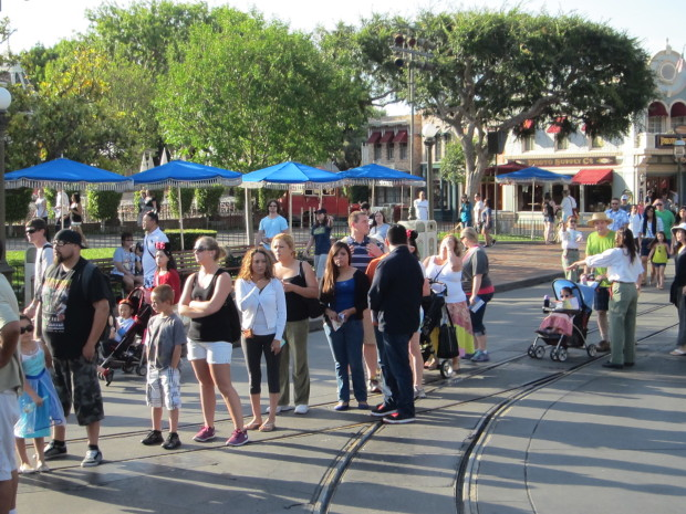 "The line for ""Frozen"" winds down Main Street before the rope drop at 8:00 am"