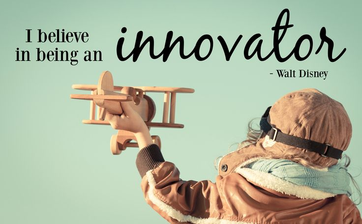 """Picture of boy with an airplane that says """"I believe in being an innovator"""""""