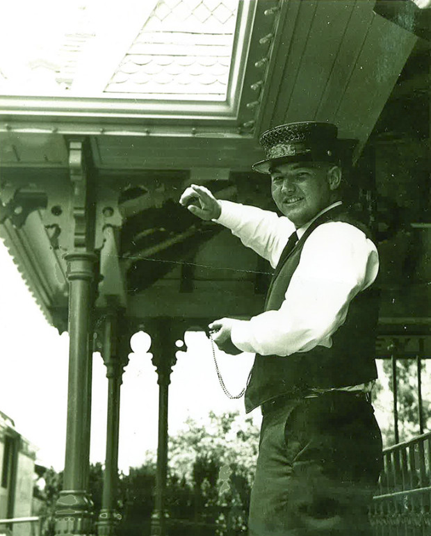 Forward! Ben Harris as a conductor on the Santa Fe & Disneyland Railroad. Photo by Ben Harris, used by permission.