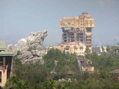 A View of Grizzly Peak and the Hollywood Tower of Terror from the Disneyland Hotel.