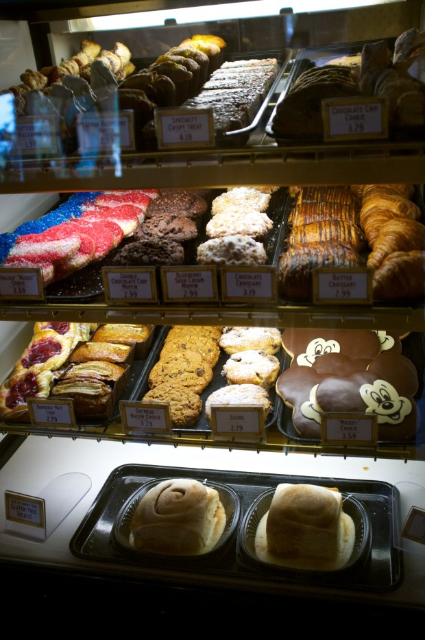 One of the many bakery cases inside.