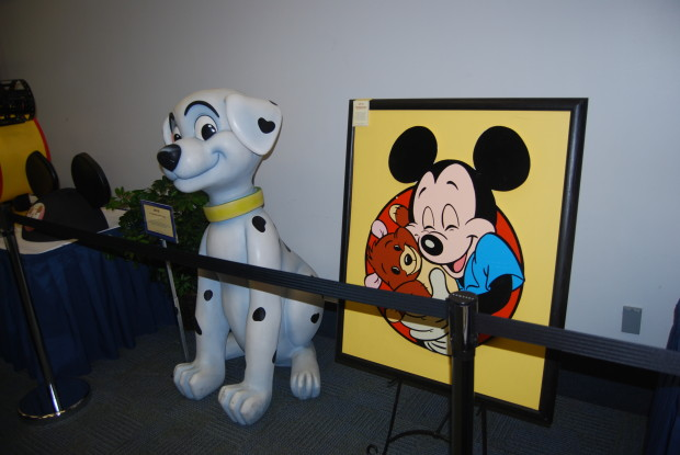 mickey and teddy bear and dog from hundred and 1 dalmations
