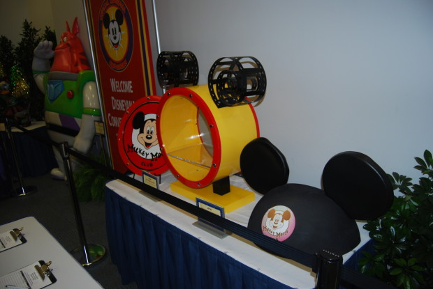mickey mouse club items drum, hat, and sign