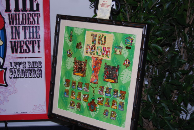 tiki room 50th anniversary pins for sale at the d23 expo silent auction