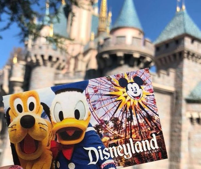 Disneyland ticket held in front of the castle
