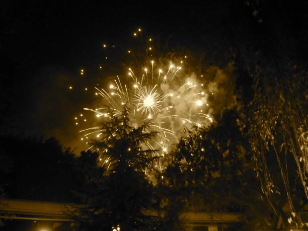 Disneyland fireworks near matterhorn in fantastyland