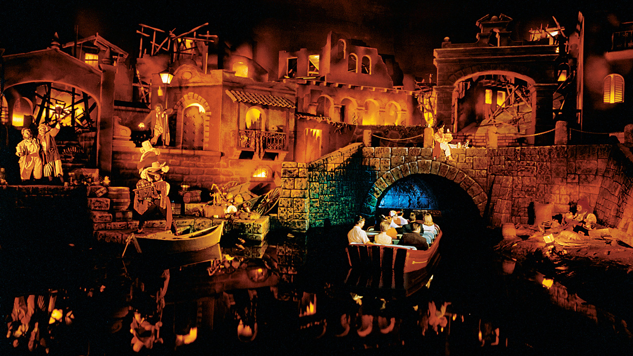 Boat passing through the Pirates of the Caribbean ride at Disneyland in January