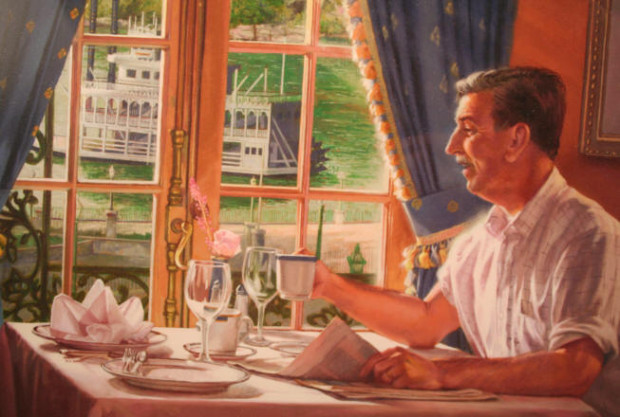 This is one of my favorite photos of Walt Disney. This is a drawing of what he would look like having breakfast in Club 33.