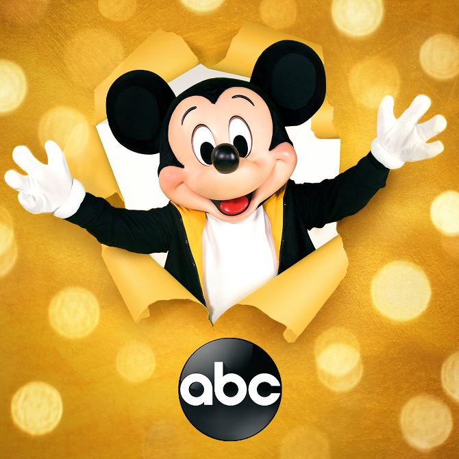 Mickey Mouse popping out of gold background with the ABC logo on the bottom