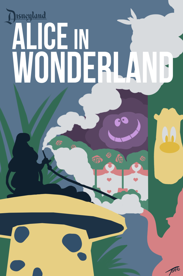 minimalist disneyland poster alice in wonderland