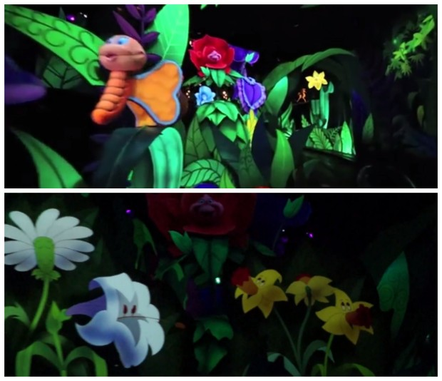 alice in wonderland disneyland refurbishment flower scene