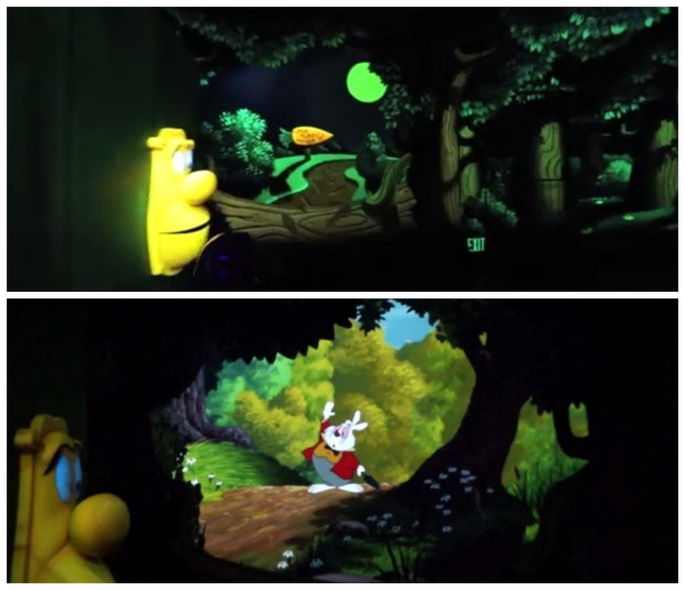 alice in wonderland refurbishment white rabbit video screen disneyland