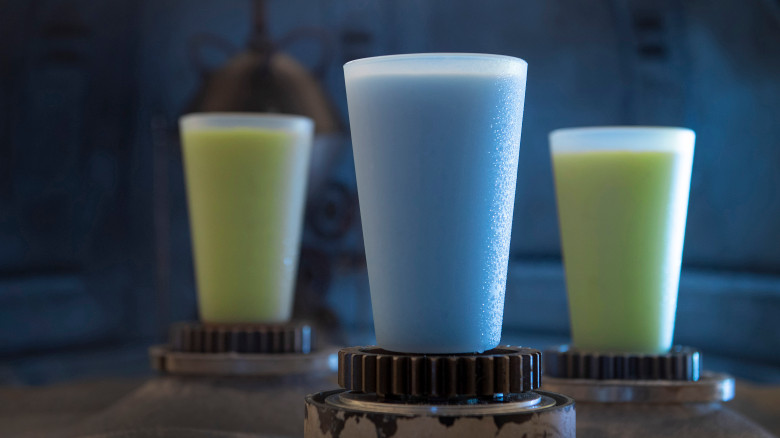Stock photo of blue and green milk at Star Wars: Galaxy's Edge