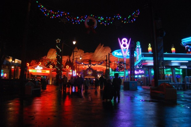 cars land night christmas