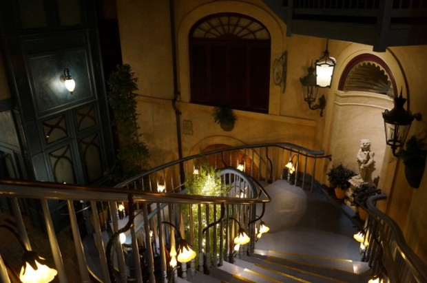 club 33 court of angels stairs looking down