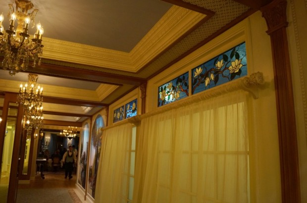 club 33 stained glass windows hallway