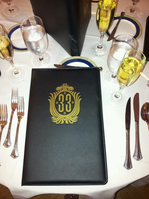club 33 menu and table setting