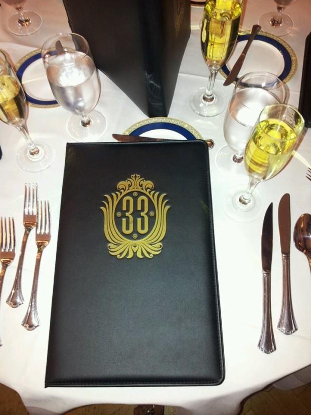 club 33 menu and table setting