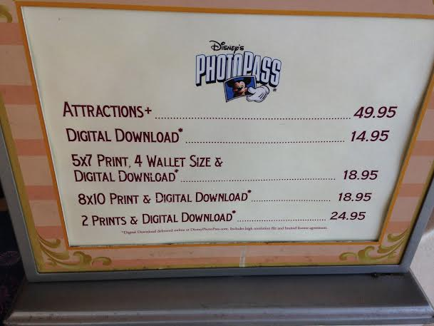 disneyland photopass prices chart