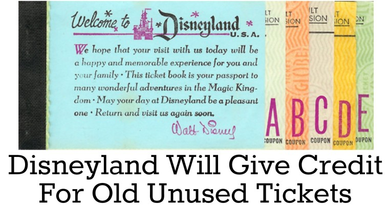 disneyland unused tickets credit