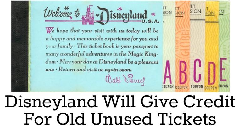 disneyland unused tickets credit