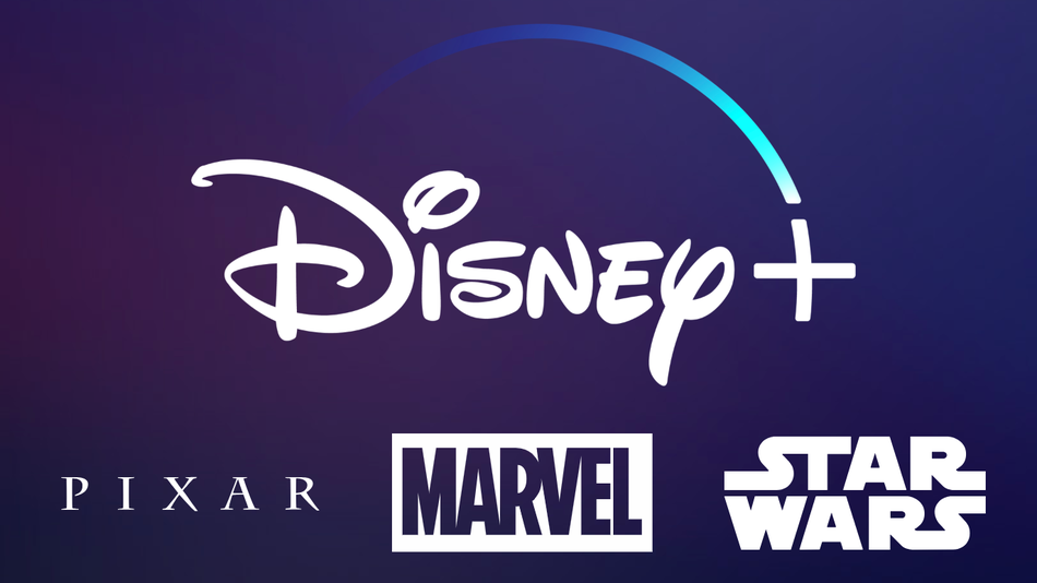 Disney+ logo with pixar, star wars, and marvel logos