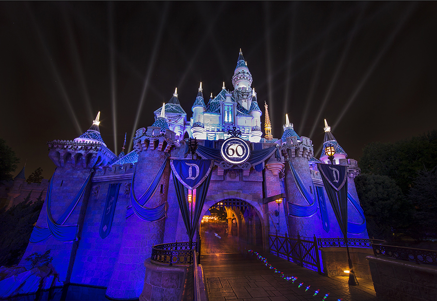 Sleeping Beauty castle lit up at night