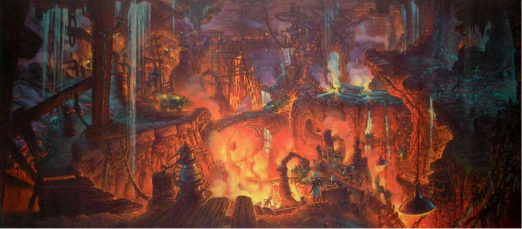 concept art main room indiana jones disneyland