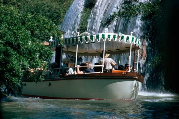 Blueprints for this version of the Jungle Cruise boat are seen in the queue of the attraction.