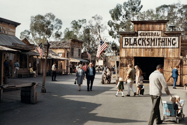 This photo from 1967 shows what the ghost town evolved in to at Knott's Berry Farm.