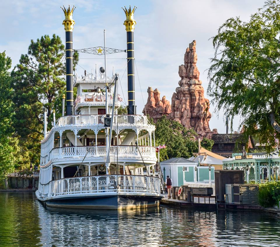 Mark Twain Riverboat reflecting on the Rivers of America at Disneyland