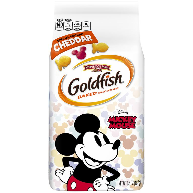 A Goldfish bag with Mickey Mouse on it