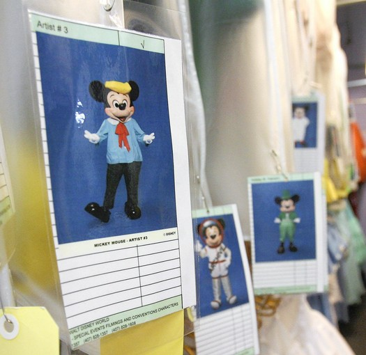 Costume tags show various Mickey Mouse outfits