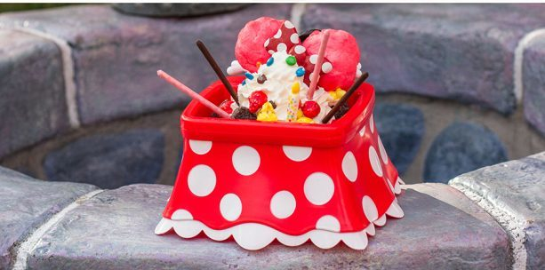 Minnie Kitchen Sink Sundae on a table outside
