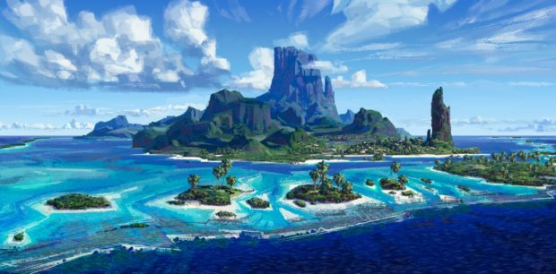 Concept artwork for islands in Moana.