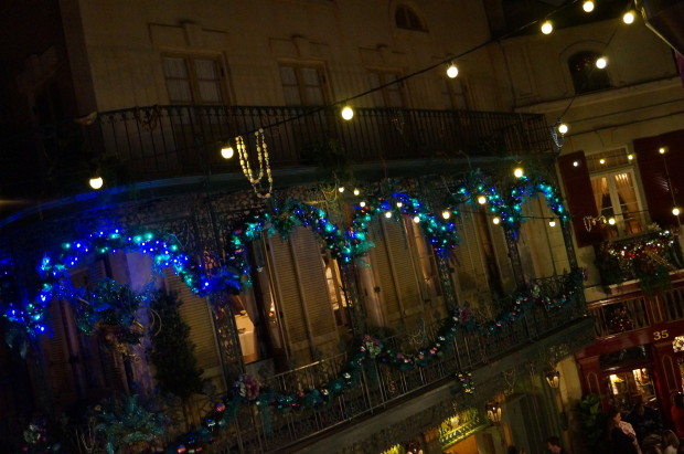 new orleans square disneyland christmas time from balcony club 33
