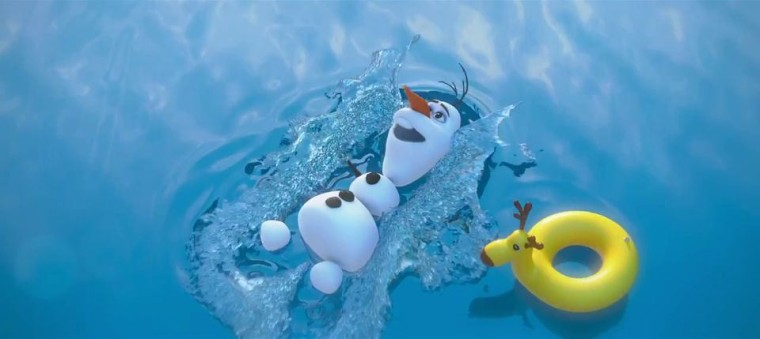 olaf the snowman frozen swimming in summer