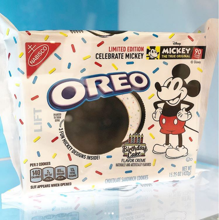 Mickey Mouse themed Oreos with blue background