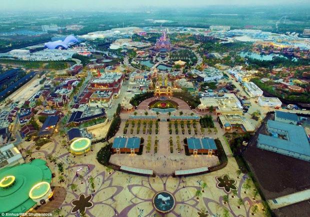 shanghai disneyland aerial view