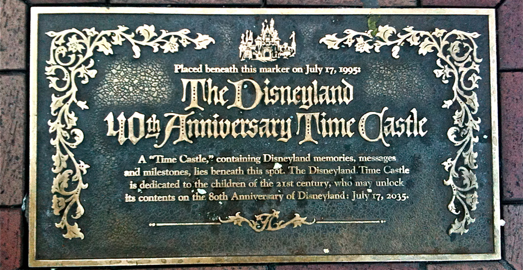 Close up of the plaque from the Disneyland time capsule